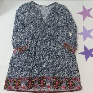 Lucky Brand cotton Navy blue white dress paisley